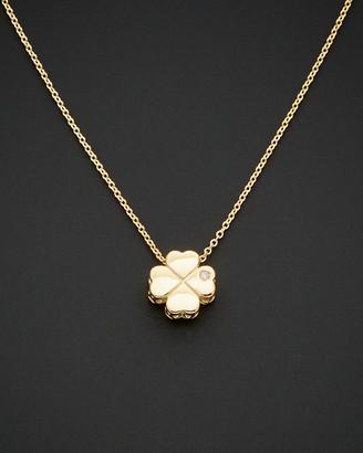 Italian Gold 14K Diamond Leaf Necklace