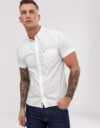 Tommy Hilfiger icon logo short sleeve buttondown poplin shirt slim fit in white