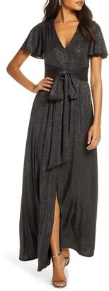 Eliza J Tie Front Flutter Sleeve Glitter Knit Gown