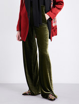 Etro High-rise wide-leg velvet trousers