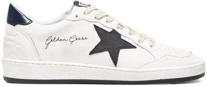 Golden Goose white and black Ball Star canvas sneakers