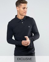 Jack Wills Staplecross Long Sleeve Polo in Black