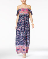 Trixxi Juniors' Border-Print Off-The-Shoulder Maxi Dress