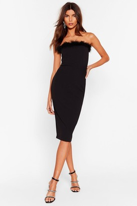 Nasty Gal Womens Feather Look Back Bandeau Midi Dress - Black - 4