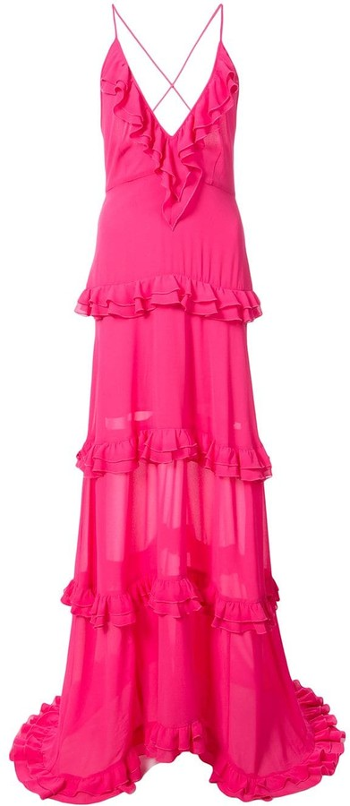 Nicole Miller tiered ruffle gown