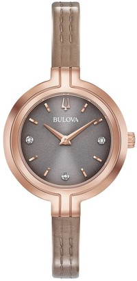 Bulova Women's 97P143 Rosegold Slim Diamond Accent Dial Grey Leather Strap Watch