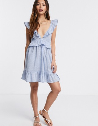 Asos DESIGN tiered mini sundress with frill lace inserts in powder blue