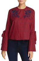 Aqua Embroidered Bell-Sleeve Gingham Top - 100% Exclusive