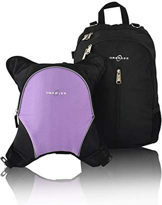 Obersee Rio Diaper Bag Backpack with Detachable Cooler (Black/Purple)