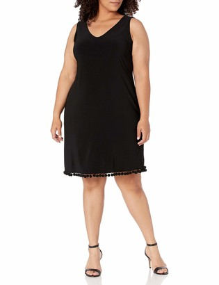 Tiana B T I A N A B. Women's Plus Size Solid Jersey Sleeveless V Neck Sheath Dress