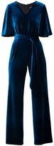 Rumour London Layla Velvet Jumpsuit With Bell Sleeves & Sash In Royal Blue