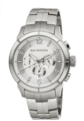 Ray Winton Men's Chronograph Silver Dial Silver Stainless Steel Bracelet Watch