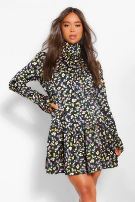 boohoo Floral Print Volume Sleeve Dress
