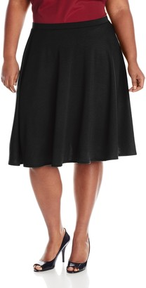 Star Vixen Women's Plus-Size Knee Length Full Skater Skirt