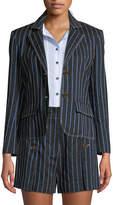 Derek Lam 10 Crosby Two-Button Striped Cropped Blazer