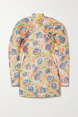 Rotate by Birger Christensen Kim Button-detailed Metallic Floral-jacquard Mini Dress - Chartreuse