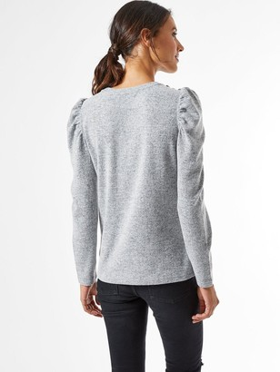 Dorothy Perkins Diamante Puff Sleeve Brushed Top - Grey