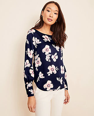 Ann Taylor Tall Floral Hammered Satin Boatneck Blouse