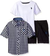 U.S. Polo Assn. Little Boys' Gingham Woven Shirt, Twill Short and Logo T-Shirt