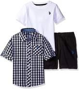U.S. Polo Assn. Little Boys' Gingham Woven Shirt, Twill Short and Logo T-Shirt