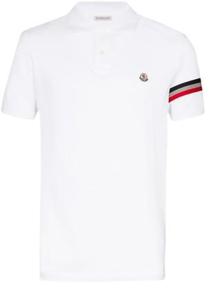 Moncler Striped Cotton-Pique Polo Shirt