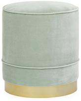 Kim Salmela Piper Stool - Seafoam Velvet frame, brass; upholstery, seafoam