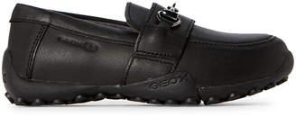 Geox Toddler/Kids Boys) Black Snake Bit Leather Loafers