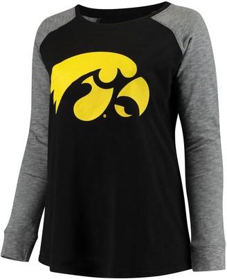 Women's Black/Charcoal Iowa Hawkeyes Plus Size Preppy Elbow Patch Slub Long Sleeve T-Shirt