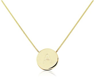 Auree Jewellery Westbourne 9Ct Yellow Gold Initial Disc Necklace