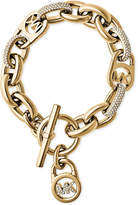 Michael Kors Gold-Tone Link Bracelet with Pavé Crystal Accents