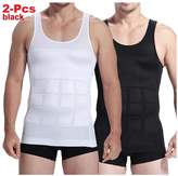 Top1(TM) 2-pcs Mens Slim Body Shaper Compression Elastic Undershirt, Tank Vest Shapewear, Abs Abdomen Slim Compression (S to XXL 2 white/2 black) + 1 RFID Blocking Credit Card Sleeve (XL, )