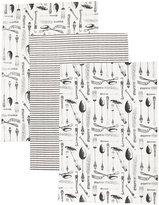 Marks and Spencer Set of 3 Vintage Cutlery Print Tea Towel