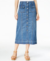 Earl Jeans Button-Front Midi Denim Skirt