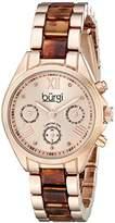 Burgi Women's BUR130RGBR Diamond Accented Rose Gold & Tortoise Resin Multifunction Bracelet Watch