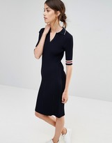 Whistles Ribbed Polo Dress with Tipped Stripe