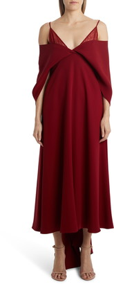 Valentino Cold Shoulder Cape Sleeve Silk Cady Gown