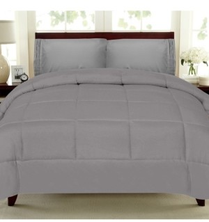 Sweet Home Collection Solid Color Box Stitch Down Alternative King Comforter