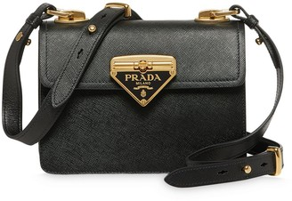 Prada Logo-Plaque Leather Shoulder Bag
