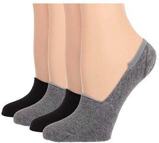 Hue Sneaker Liner 4-Pair Value Pack (Charcoal Heather) Women's No Show Socks Shoes