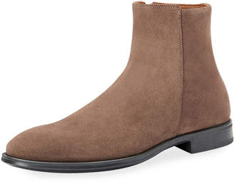 Aquatalia Men's Daniel Waterproof Suede Side-Zip Ankle Boots
