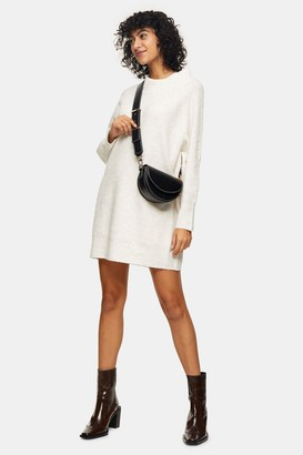 Topshop Womens Super Soft Oversized Knitted Dresss - Neutral