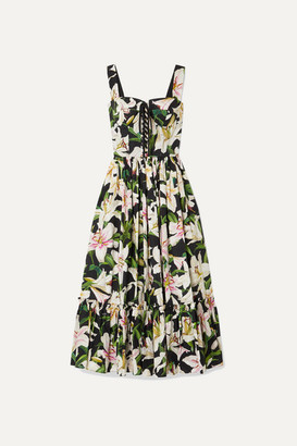 Dolce & Gabbana Lace-up Floral-print Cotton-poplin Midi Dress - Black