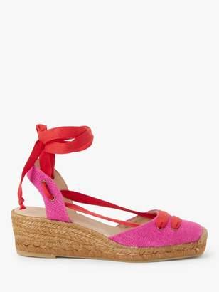 John Lewis & Partners Keah Ankle Tie Espadrilles, Pink Canvas