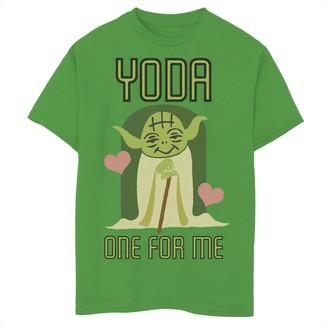 Star Wars Boys 8-20 Yoda One For Me Cute Valentine's Tee