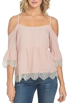 1 STATE 1.state Cold Shoulder Lace Trim Blouse