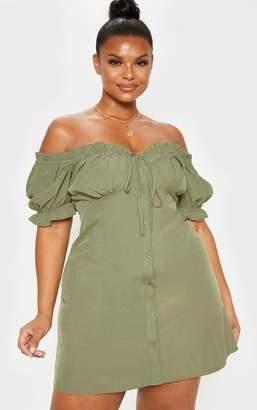 PrettyLittleThing Plus Khaki Bardot Button Front Shift Dress