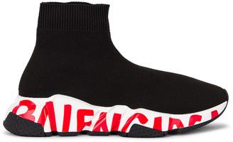 Balenciaga Speed Lt Graffiti Sneakers in Black & Red   FWRD