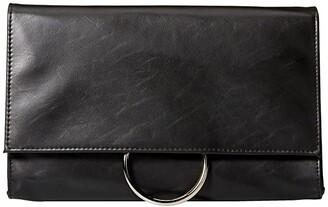 Jessica McClintock Nora Ring Flap Clutch (Black) Clutch Handbags