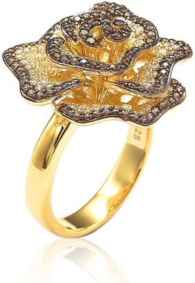 Suzy Levian 14K Yellow Gold Plated Sterling Silver Chocolate CZ Ring