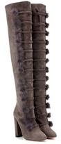 Aquazzura Ulyana 105 Fur-trimmed Suede Over-the-knee Boots